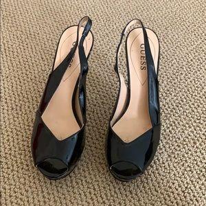 Guess peep toe platforms